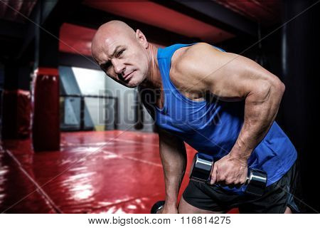 Portrait of fit man exercising with dumbbells against red boxing area with punching bags