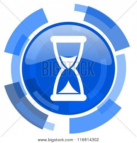 time blue glossy circle modern web icon