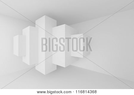 3d White Room. Modern Architecture Background