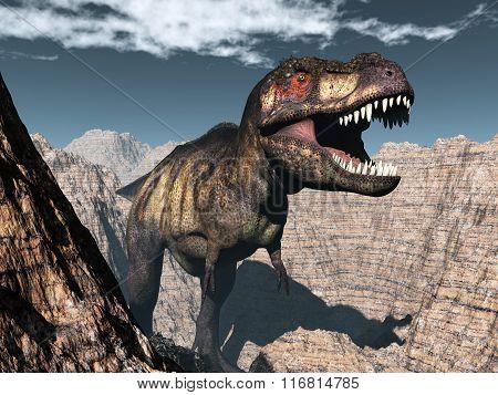 Tyrannosaurus rex dinosaur roaring - 3D render