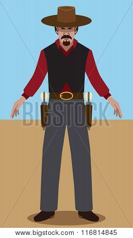 Flat vector gunslinger