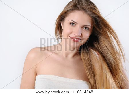 Spa Portrait Of Beautiful Smiling Blonde Woman