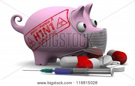 Swine influenza. Influenza A virus (H1N1). Concept