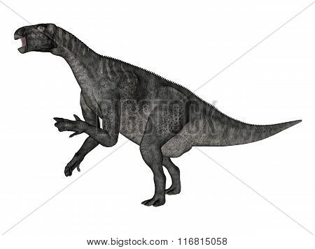 Iguanodon dinosaur roaring while walking - 3D render