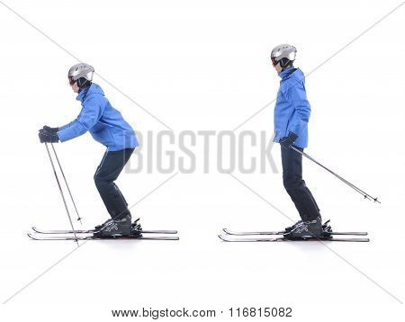Skiier Demonstrate How To Push Away In Skiing. Sliding At The Flat Surface.