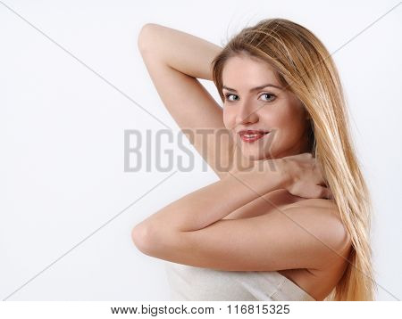 Young Blonde Woman With Perfect Makeup And Sensitive Skin