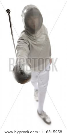 Foil fencer from above, focus on sword isolated on white background.