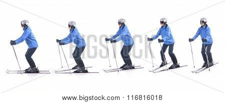Skiier Demonstrate How To Turn Around The Tops Of Skis. Step By Step Instruction.