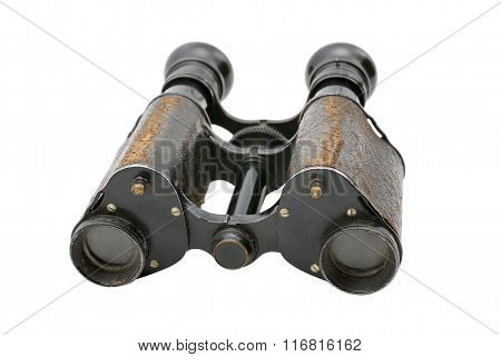 British army field binocular of 19 century. With path on white background. Used in WWI WWII.