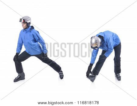 Skiier Demonstrate Warm Up Exercise For Skiing. Dinamic Stretch.