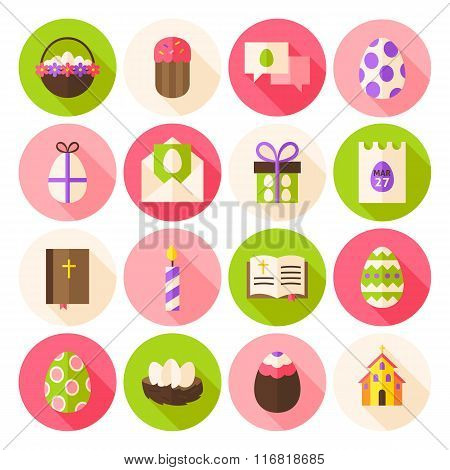 Happy Easter Spring Circle Icons Set With Long Shadow