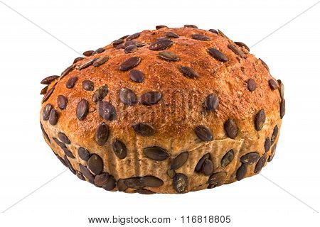 Pumpkin seeds bread isolated clipping path included