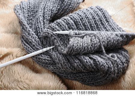 Knitting Scarf With Needles, Close Up
