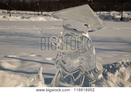 Ice figure professor at the park in winter on a clear day