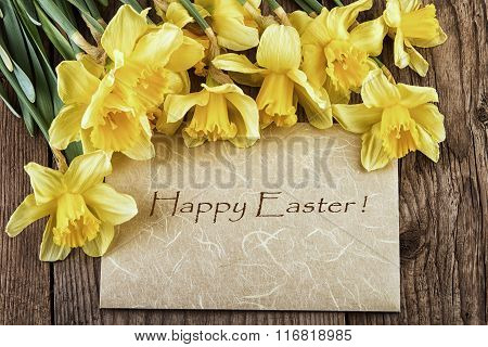 Easter Vintage card Happy Easter with yellow flowers