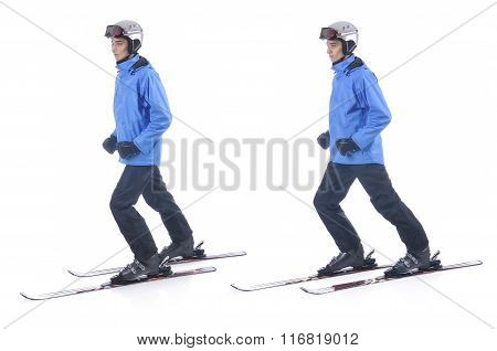 Skiier Demonstrate Warm Up Exercise For Skiing. Sliding Without Sticks.