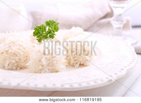 Hedgehogs, Chicken Cutlet With Rice On A Plate On A White Background