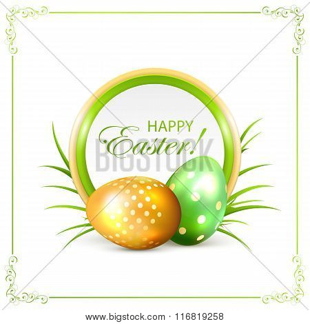 Easter Card With Green And Golden Eggs