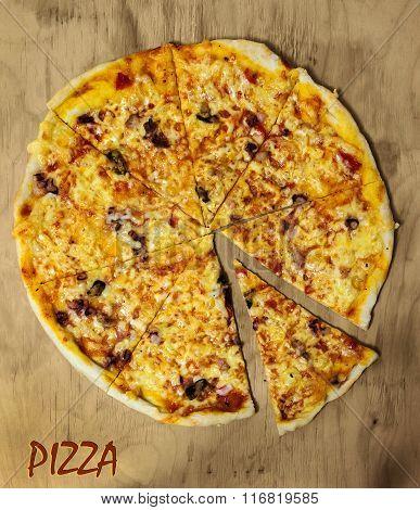 Morimonte Real Italian Pizza On A Wooden Board