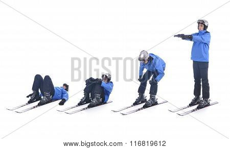 Skiier Demonstrate Warm Up Exercise For Skiing. Stand Up On Skis.