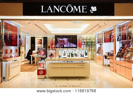 HONG KONG - JANUARY 26, 2016: Lancome store at Elements Shopping Mall. Elements is a large shopping mall located on 1 Austin Road West, Tsim Sha Tsui, Kowloon, Hong Kong