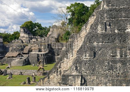 North Acropolis Structures On The Grand Plaza Of Tikal National Park And Archaeological Site, Guatem