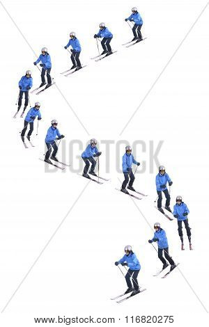 Skiier Demonstrate How To Slide Downhill. Snow Parallel Turns.
