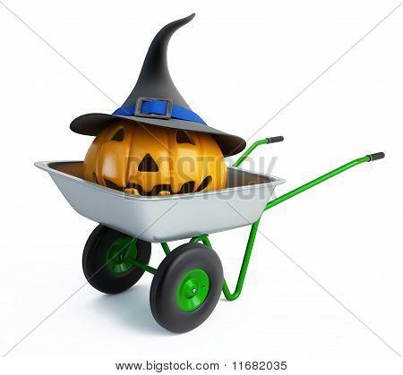 Wheelbarrow Halloween Pumpkins