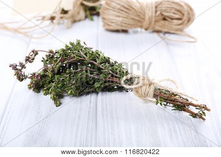 Bunch Of Thyme On Table, Close Up