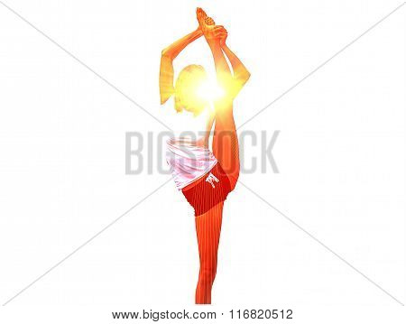 Young Woman Practicing Yoga On White Background. Logo