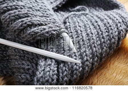 Knitted Scarf With Knitting Needles, Close Up