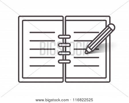 Flat line notebook icon