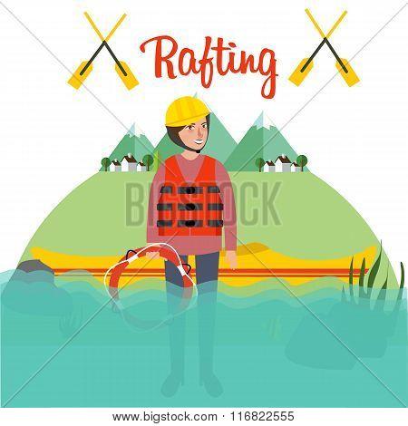 rafting people standing boat river helmet raft canoe sport kayak