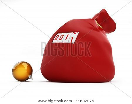 Bag Christmas Gifts On A White Background