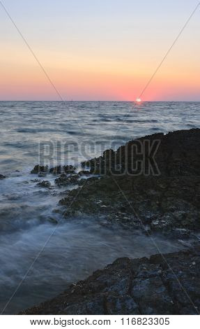 Sunset Over The Sea During Summer Evening In Croatia.