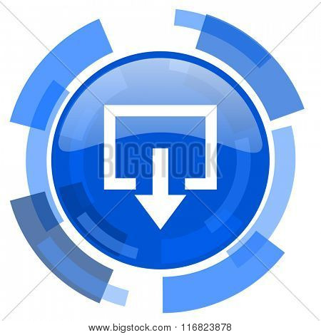 exit blue glossy circle modern web icon