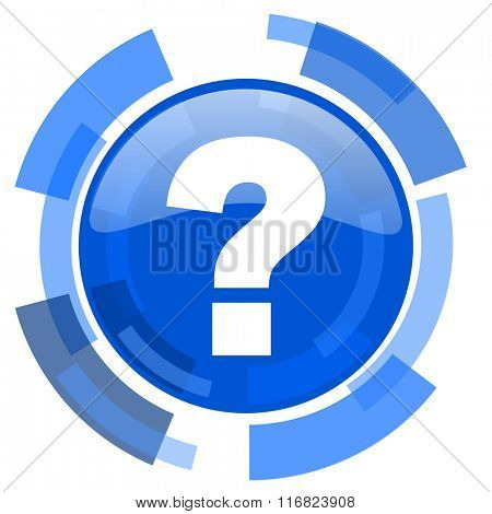 question mark blue glossy circle modern web icon