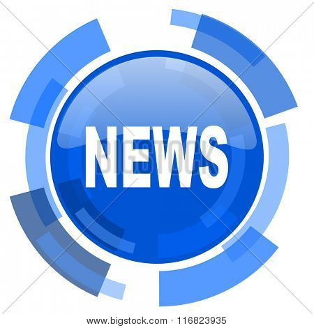 news blue glossy circle modern web icon