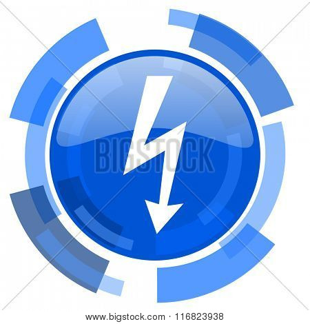 bolt blue glossy circle modern web icon
