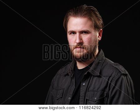Portrait Os A Serious Man, Black Background