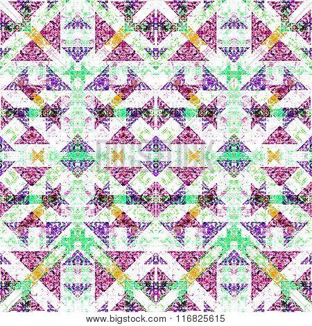 Vintage Ornate Check Seamless Pattern