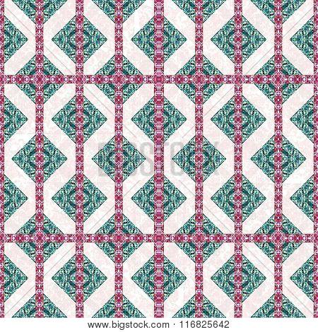 Diamonds Motif Boho Style Check Pattern