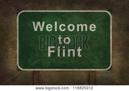 Welcome To Flint Roadside Sign Illustration