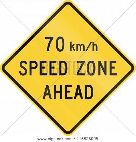 United States Mutcd Warning Road Sign - 70 Kmh Zone Ahead