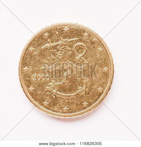 Finnish 50 Cent Coin Vintage