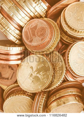 Euro Coins Background Vintage
