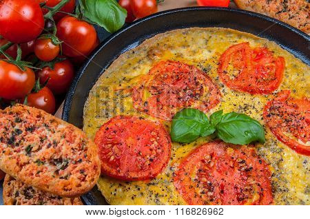 Omelette With Tomato And Herbs