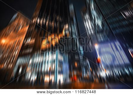 Manhattan At Night. Illumination And Night Lights