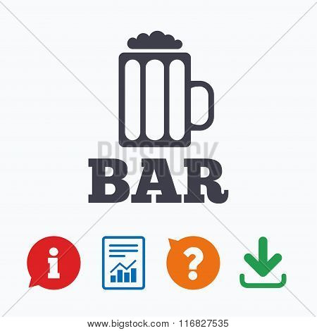 Bar or Pub sign icon. Glass of beer symbol.