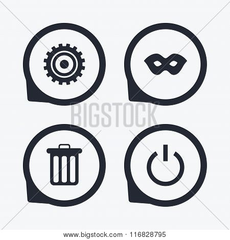 Anonymous mask and gear signs. Recycle bin.